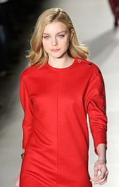 Jessica Stam wears Tommy Hilfiger on the runway in 2008