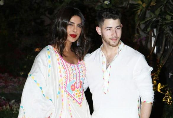 Chopra and Jonas at a Holi celebration party in Mumbai in 2020